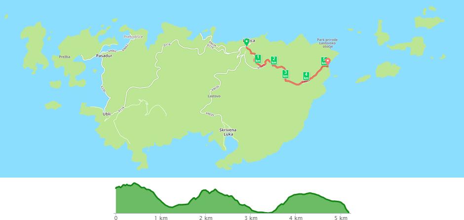 Karta biciklističke staze Lastovo - Barje