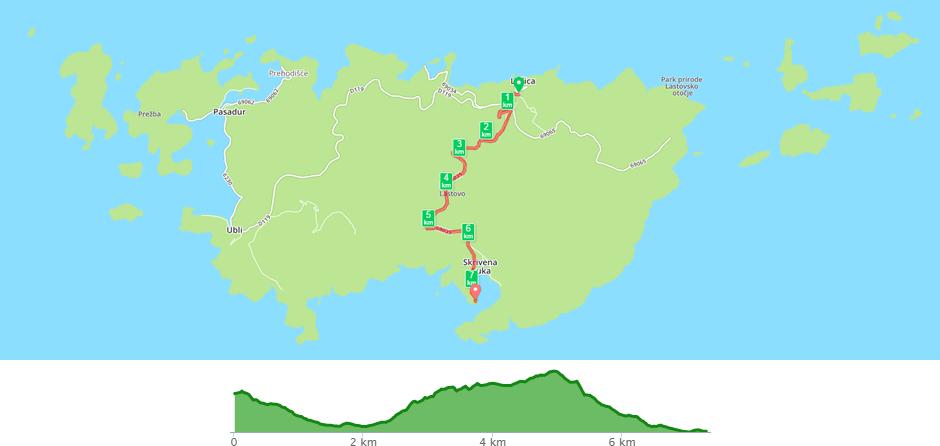 Karta biciklističke staze Lastovo - Skrivena luka