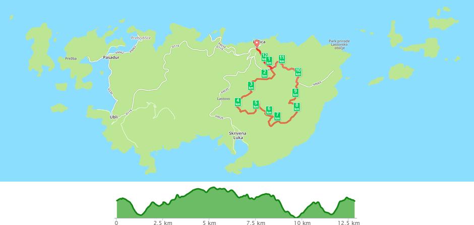 Karta biciklističke staze Lastovo - Lastovo