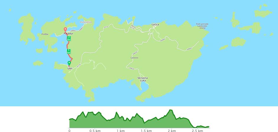 Karta biciklističke staze Pasadur - Ubli