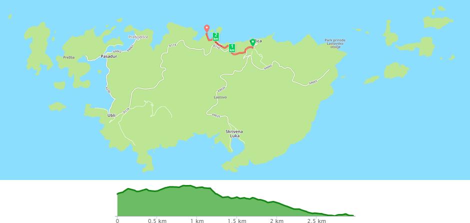 Karta biciklističke staze Lastovo - Zaklopatica