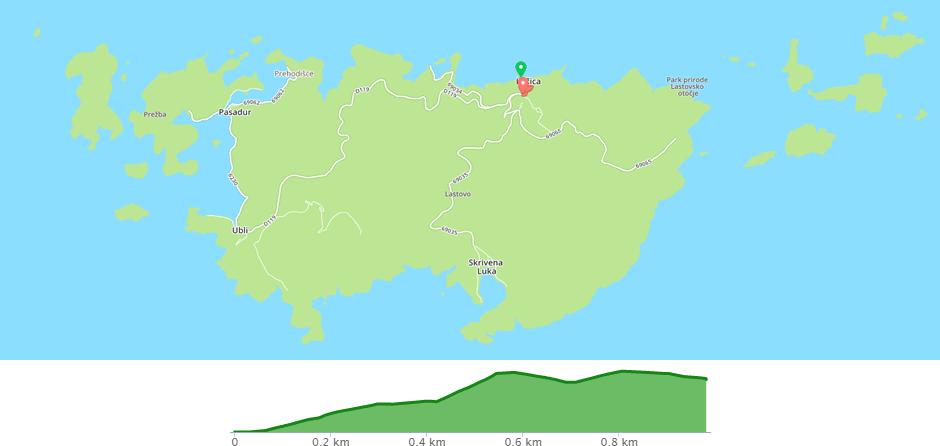 Karta biciklističke staze Lastovo - Lučica