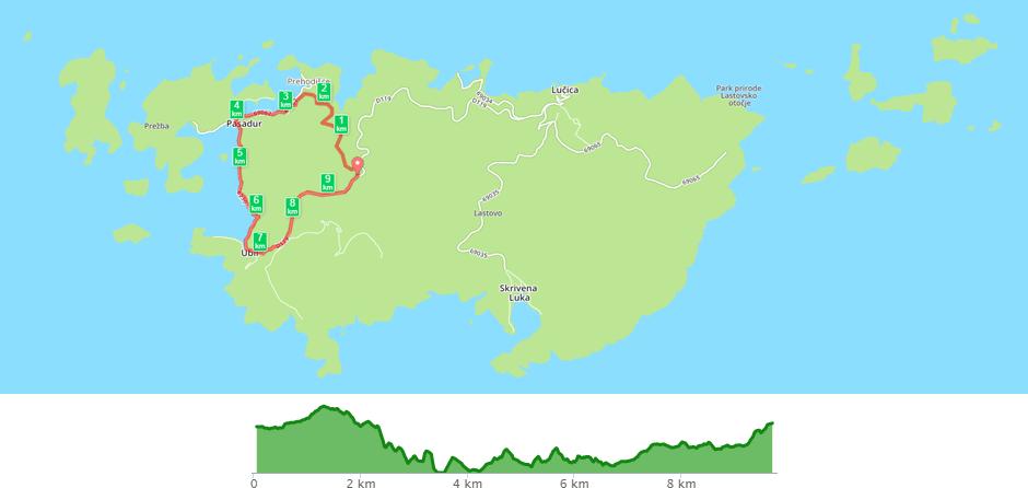 Karta biciklističke staze Pasadur - Pasadur
