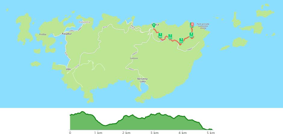 Karta biciklističke staze Lastovo - Zace
