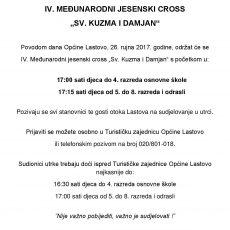 """IV. MEĐUNARODNI JESENSKI CROSS  """"SV. KUZMA I DAMJAN"""""""